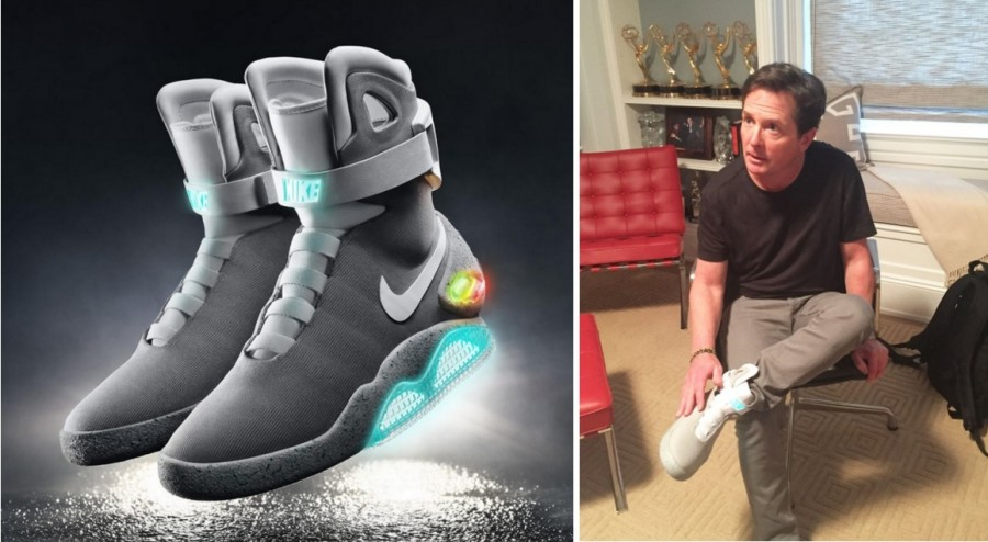 ... real self-lacing Nike Mags in New York. And what better day to launch  this but on Back To The Future Day  The first person to get it is Michael J.  Fox. d7cc0761c