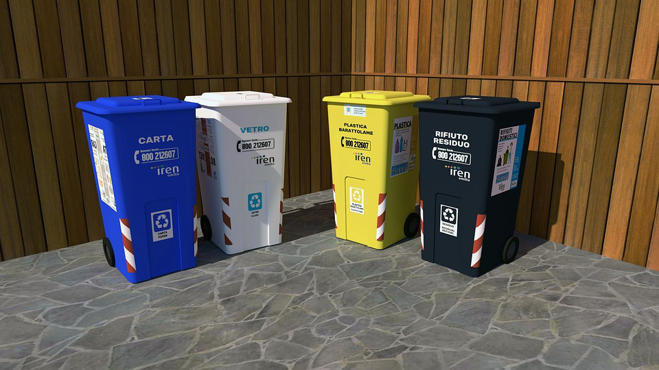 waste bins with various colours